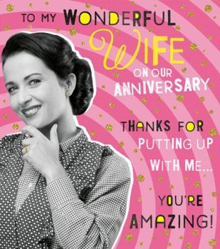 Funny Anniversary Cards - THANKS For PUTTING Up With ME - To My WONDERFUL Wife - ANNIVERSARY Cards For WIFE - Wedding ANNIVERSARY Cards