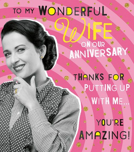 Funny Anniversary Cards - THANKS For PUTTING Up With ME - To My WONDERFUL W