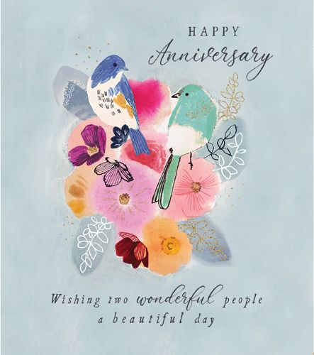 Wedding Anniversary Cards - WISHING Two Wonderful PEOPLE A Beautiful DAY -