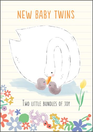 New Twins & Twin Birth Cards - Two LITTLE Bundles Of JOY - New BABY Card -