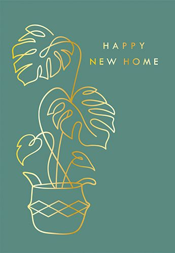 New Home Cards - HAPPY New HOME - FOILED Greeting CARD - RETRO Style Card -