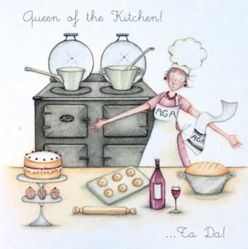 Birthday Card - QUEEN Of The KITCHEN - AGA Birthday CARD - Birthday CARD For AGA Lovers - BIRTHDAY Card FOR Mum - FRIEND - Wife