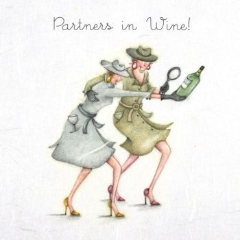 Funny Birthday Cards - PARTNERS In WINE - ALCOHOL Birthday CARDS - Funny DRINKING Birthday CARDS - Wine Birthday CARD For Special FRIEND - Sister