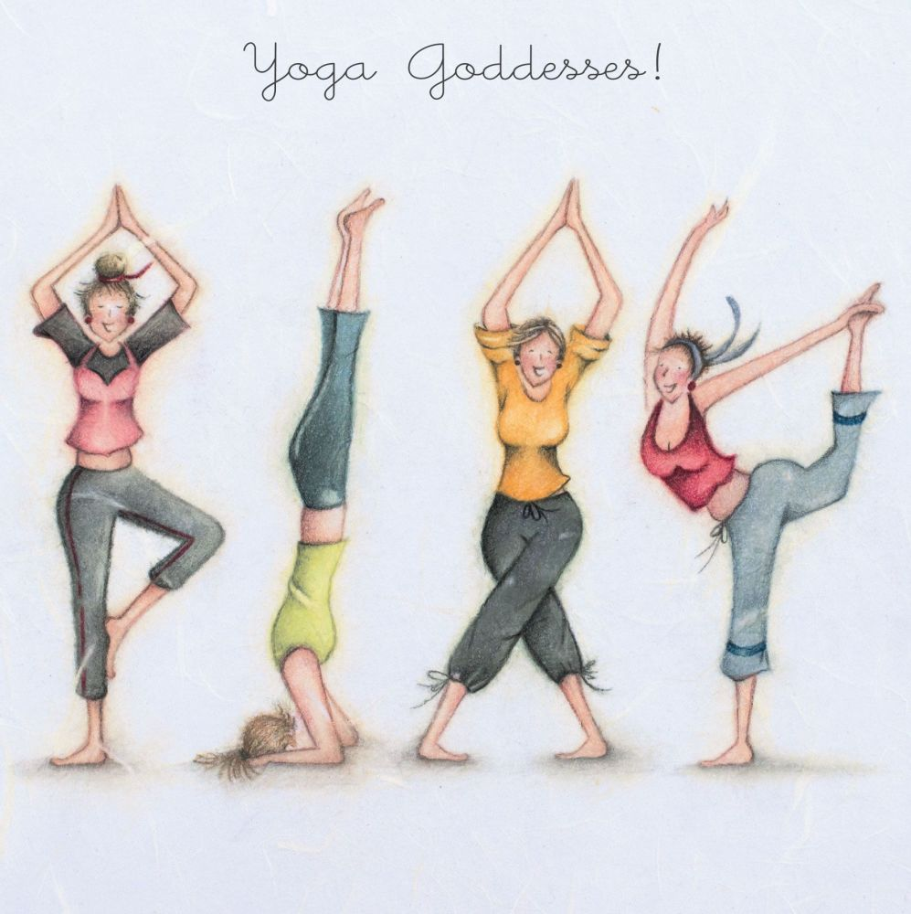 Yoga Birthday Cards - YOGA GODDESSES - FUNNY Yoga Birthday CARDS - Funny YO
