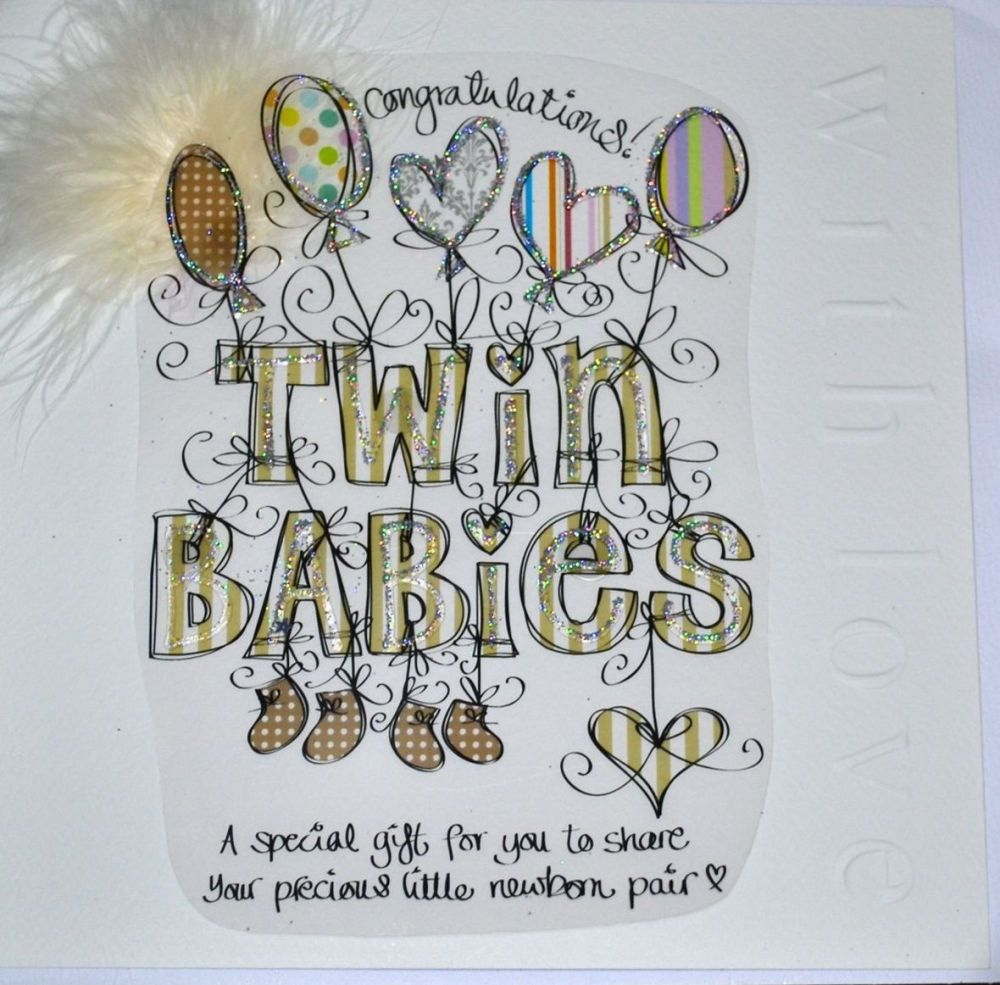 Newborn Twins Congratulations Card - LARGE Luxury EMBELLISHED Card - NEW TW