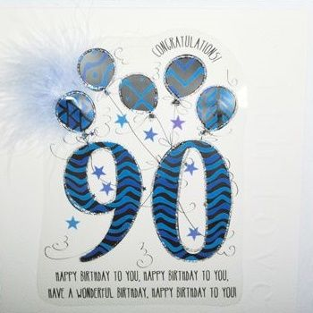 90th Birthday Card - Large BOXED Birthday CARD - LUXURY Card - CONGRATULATIONS - Birthday BALLOONS Greeting CARD - Card FOR Granddad - DAD