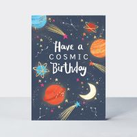 Space Birthday Card - Have A COSMIC Birthday - SOLAR System BIRTHDAY Cards - Outer SPACE Themed BIRTHDAY Cards For SON - Brother - GRANDSON