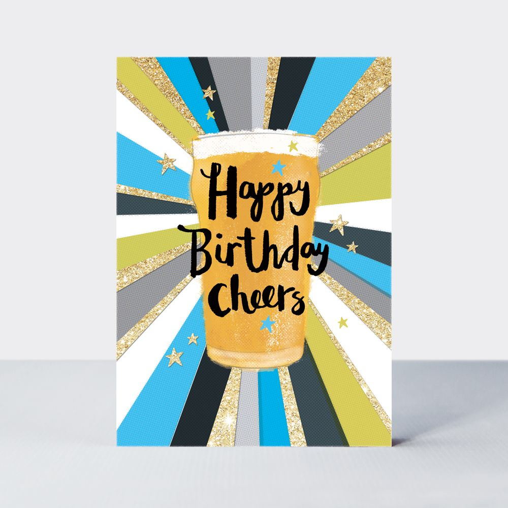Beer Birthday Card - Happy BIRTHDAY Cheers - Birthday PINT Card - BEER Birt