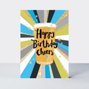 Beer Birthday Card - Happy BIRTHDAY Cheers - Birthday PINT Card - BEER Birthday CARDS - Beer CARD For HUSBAND - Brother - FRIEND - Boyfriend