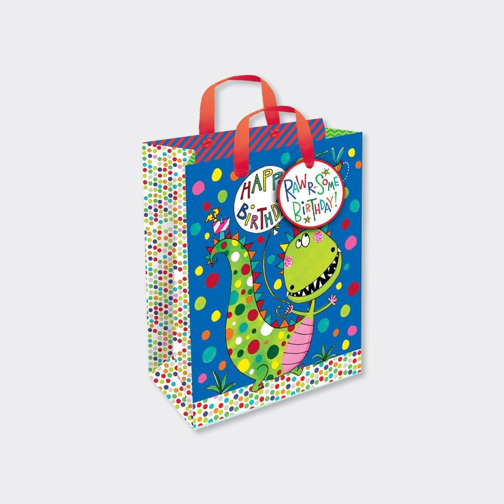 Dinosaur Gift Bags - HAPPY BIRTHDAY - Dinosaur GIFT Bag SMALL - Dinosaur PA