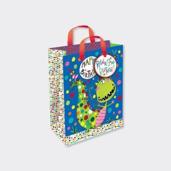 Dinosaur Gift Bags - HAPPY BIRTHDAY - Dinosaur GIFT Bag SMALL - Dinosaur PARTY Bags - SMALL Dinosaur GIFT BAG With TAG - Dinosaur BIRTHDAY Gift BAGS