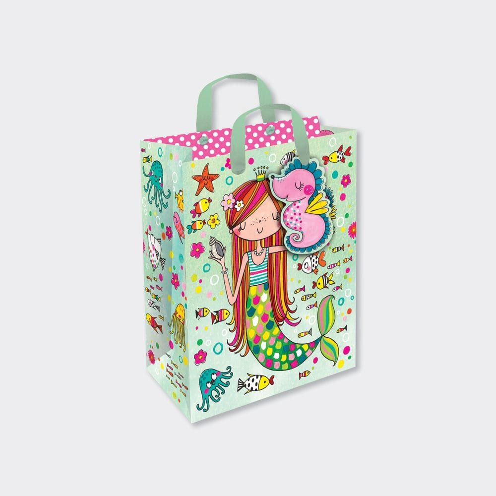 Children's Luxury Small Portrait Gift Bag - MERMAID Gift BAG With TAG - SMA