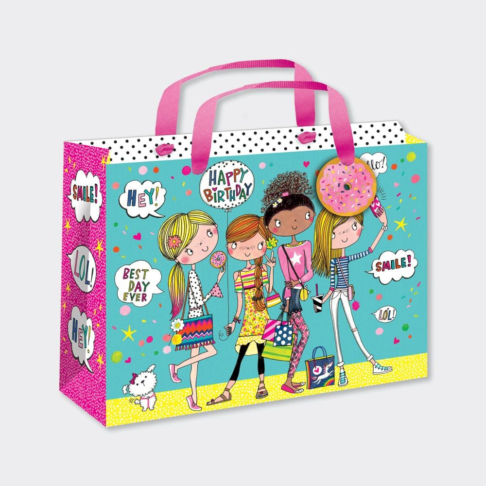 A Large Luxury Gift Bag - CHILDREN'S Gift Wrap - FRIENDS Selfie GIFT Bag -