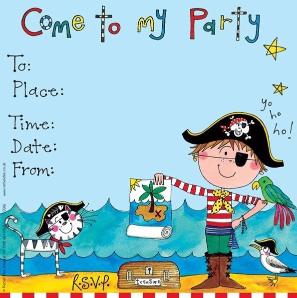 Pirate Party Invitations – PIRATE Party INVITATIONS Pack Of 8 - PIRATE with
