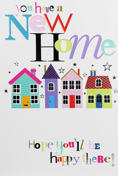 New Home Cards - HOPE You'll Be HAPPY - MOVING House CARD - HOUSEWARMING Ca