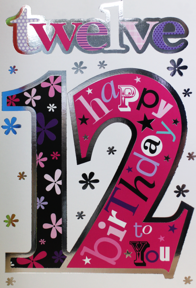 12th Birthday Card Girl - HAPPY Birthday TO YOU - Birthday WISHES For 12 YE
