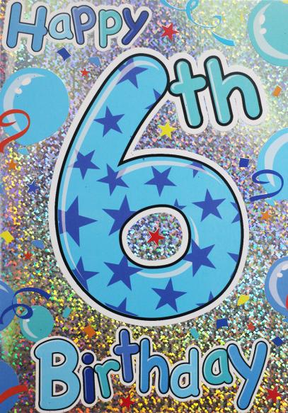 6th Birthday Cards - Happy 6th BIRTHDAY - 6th BIRTHDAY Card - 6th Birthday