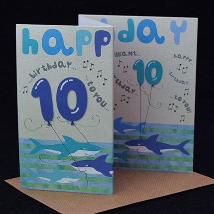 10th Birthday Cards - HAPPY Birthday To YOU - Shark BIRTHDAY Card - FUN Tri