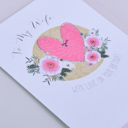 To My Wife Birthday Card - WITH Love ON Your Birthday - Pretty PINK Birthda