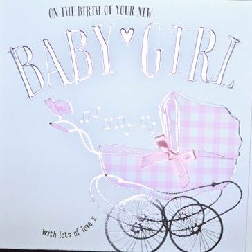 Baby Girl Cards - WITH Lots Of LOVE - Baby GREETING Cards - PRETTY Pram Card - NEW Baby GIRL Wishes - New BABY Girl CARDS For DAUGHTER - Granddaughter