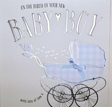 Baby Boy Cards - WITH Lots Of LOVE - Baby GREETING Cards - CUTE Pram Card - NEW Baby BOY Wishes - New BABY Boy CARDS For DAUGHTER In LAW - Daughter