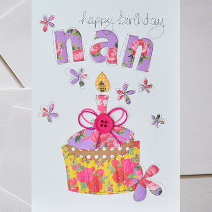 Nan Birthday Cards - CUPCAKE Birthday Card - HAPPY Birthday NAN - Floral BI