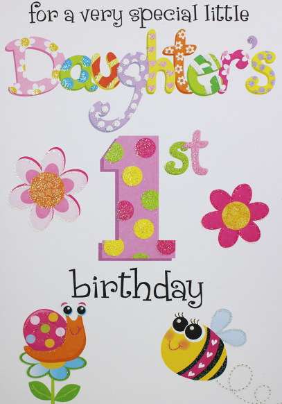 1st Birthday Card - FOR A Very SPECIAL Little Daughter's 1st BIRTHDAY - Dau