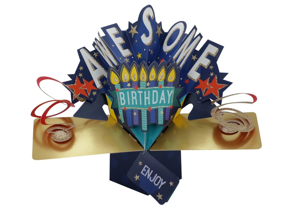 Pop Up Cards - Pop Up Birthday Card - AWESOME Birthday - 3D Birthday CARDS