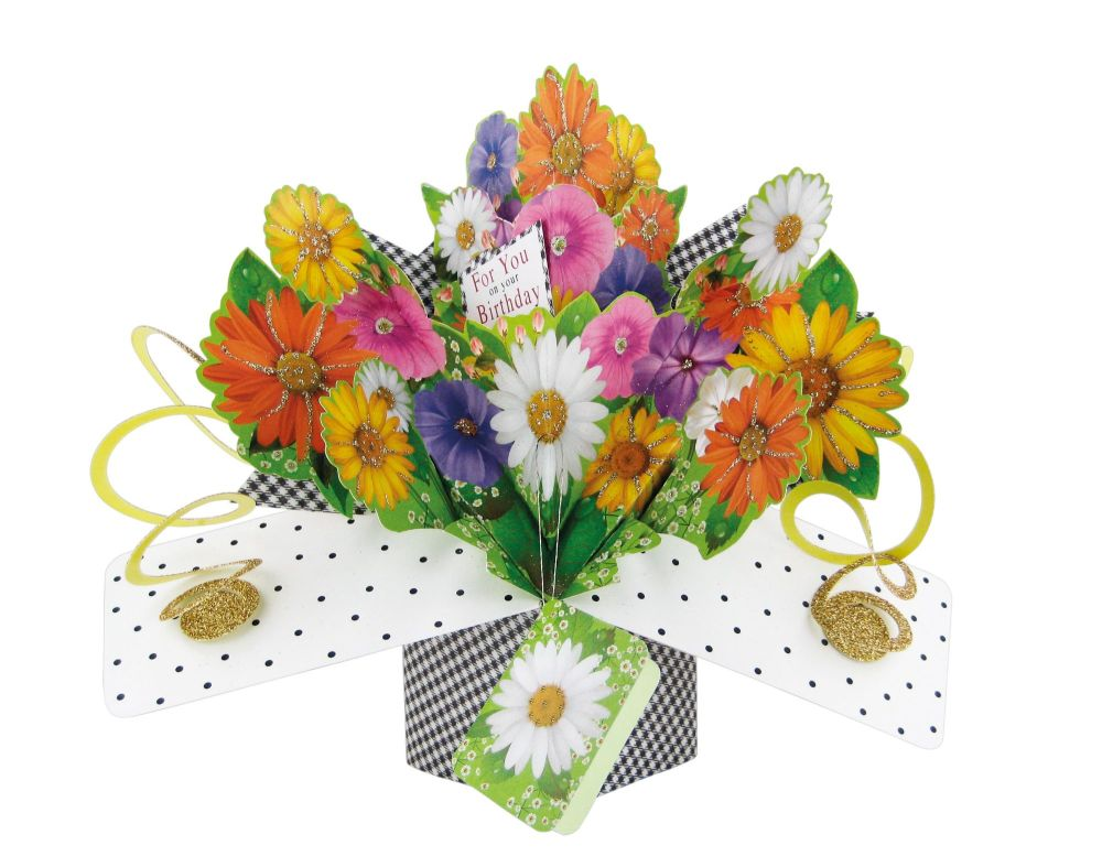 Flower Birthday Cards - FOR You On YOUR BIRTHDAY - Pop Up Birthday Card -