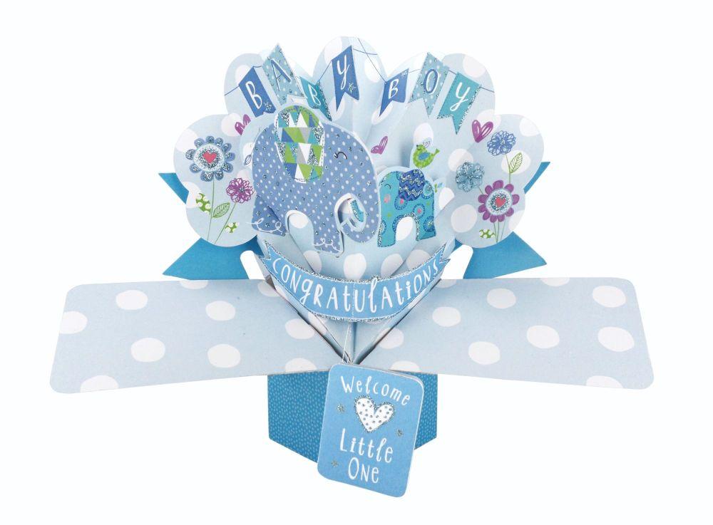 New Baby Boy Pop Up Card - NEW Baby BOY Keepsake CARD - BABY Boy CARDS - 3D