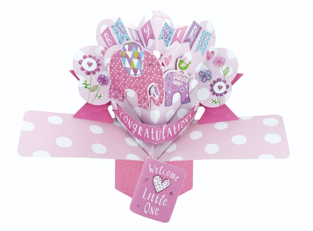 New Baby Girl Pop Up Card - NEW Baby GIRL Keepsake CARD - BABY Girl CARDS -