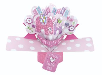 New Baby Girl Pop Up Card - NEW Baby GIRL Keepsake CARD - BABY Girl CARDS - 3D Greeting CARDS - Baby SHOWER Pop UP CARD - New BABY CARD