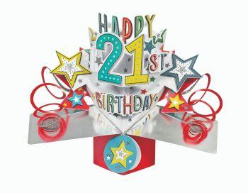 21st Birthday Cards - POP UP 21st Card - 3D POP UP Birthday CARDS - 3D Pop Up Greeting CARD - 21st Card For SON - Daughter - GRANDSON - Niece