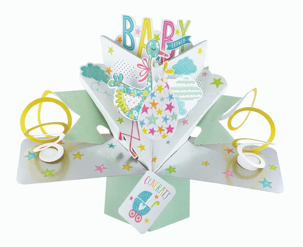 Baby Shower Cards - BABY Shower Pop Up CARD - NEW Baby Keepsake - 3D Greeti