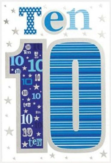 10th Birthday Cards - TEN - BLUE & Silver FOIL Birthday CARD - 10th Birthda