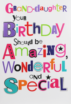 Granddaughter Birthday Cards - Your BIRTHDAY Should Be AMAZING - Birthday CARD For GRANDDAUGHTER - Pretty BIRTHDAY Card For GRANDDAUGHTER