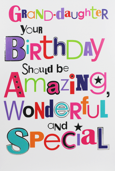 Amazing Wonderful Special Granddaughter Birthday Card - BIRTHDAY Cards For