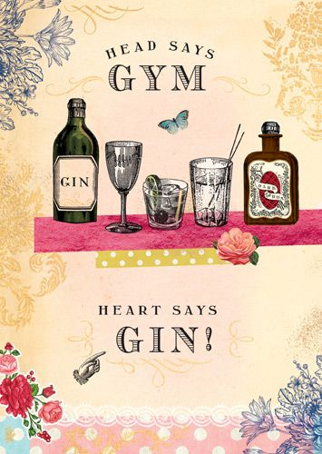 Gin Birthday Card - HEAD Says GYM Heart Says GIN - Drinking BIRTHDAY Cards