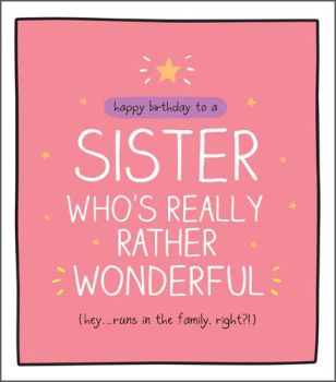 Funny Birthday Card For Sister - RUNS In The FAMILY Right - SISTER Birthday Cards - Happy BIRTHDAY Cards For SISTER - Wonderful SISTER CARD