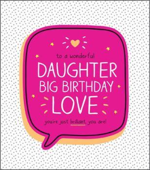 Daughter Cards - BIG Birthday LOVE - Daughter BIRTHDAY Cards - BEAUTIFUL Daughter BIRTHDAY Cards - Pretty PINK & Sparkly Daughter BIRTHDAY Card