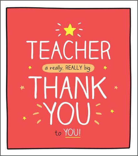 Teacher Thank You Cards - A REALLY Big THANK You - CARDS For TEACHERS - Tha