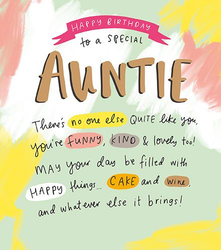 Special Auntie Birthday Cards - YOU'RE Funny KIND & Lovely - BIRTHDAY Cards