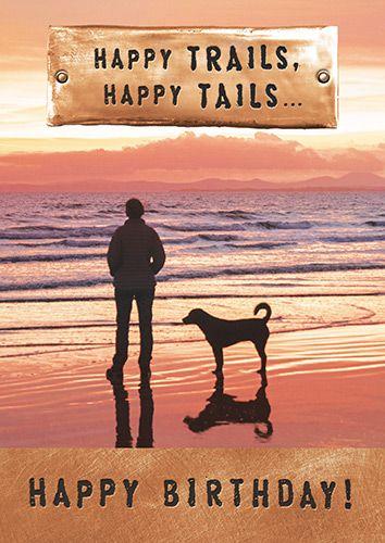 Dog Walker Card - HAPPY Trails HAPPY Tails - DOG Walking CARDS - Dog BIRTHD