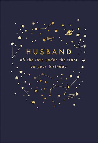 Husband Birthday Cards - ALL The LOVE Under The STARS - Birthday CARDS For