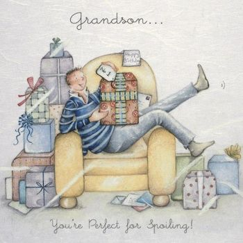 Birthday Cards For Grandson - GRANDSON You're PERFRECT For SPOILING - Grandson BIRTHDAY Cards - GRANDSONS Birthday - Funny GRANDSON Birthday CARD