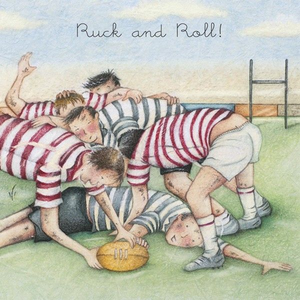 Rugby Birthday Card - RUCK And ROLL - Rugby CARDS - Funny RUGBY Birthday CA
