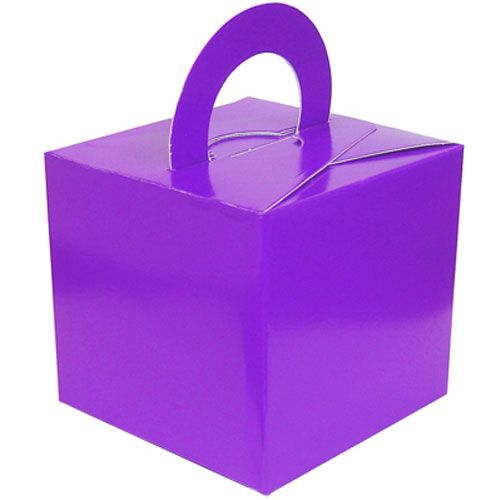 Pack Of 5 Helium Balloon Weight Party Favour Gift Boxes - PURPLE Card WEIGH