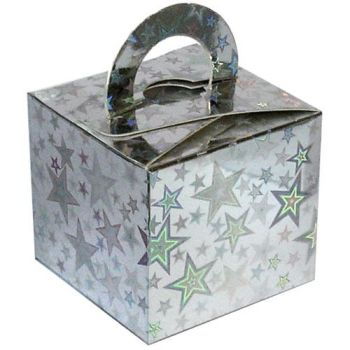 Balloon Weight Box - SILVER Holographic Star CARDBOARD Box Weights - Balloon Weights - Box WEIGHTS - SILVER Holographic BALLOON Weights - XMAS PARTY