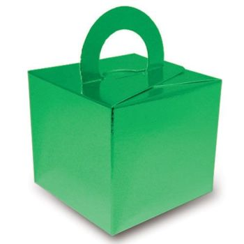 Pack Of 5 Helium Balloon Weight Party Favour Gift Boxes - GREEN Card WEIGHTS - PACK Of 5 - Metallic Green CARD Balloon Weight BOX