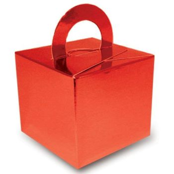 Pack Of 5 Helium Balloon Weight Party Favour Gift Boxes - RED Card WEIGHTS - PACK Of 5 - Metallic Red CARD Balloon Weight BOX